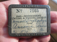 NEW HAMPSHIRE 1945 Fishing License Holder Metal Frame&Pin Clear Plastic Window