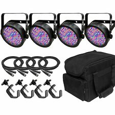 Chauvet SlimPar 56 LED Par Wash Light Bundle inc. DMX Cables. Carry Bag & Clamps