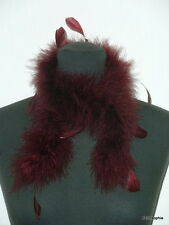 Echarpe Tour de cou habillé marabout et plumes de coq rouge foncé
