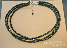 SILPADA Black and Sterling Beads 3-Strand Necklace with Onyx N1500 $49