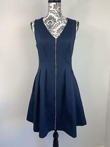 PORTMANS Womens Size 10 Textured Navy Blue Sleeveless Zip Front Lined Midi Dress