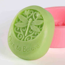 """Dragonfly Oval """"Dare to Believe"""" Silicone Cake Chocolate Cookie Soap Mould Tool"""