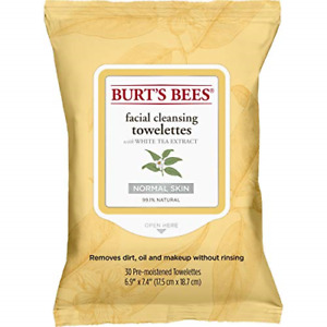 Burt's Bees 99.1% Natural Facial Cleansing Towelettes, Face Wipes for Normal Tea