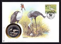 World Wide Fund Wattled Crane Bird medallion medal cover WWF Nature Malawi 1987