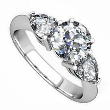 18kt H SI 1.75ct Three-Stone Round and Pear Diamond Engagement Ring