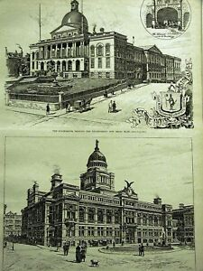 BOSTON TUNNEL COURT & STATE HOUSE 1890 Art Print Matted