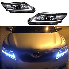 Pair LED Black Headlight For Toyota Camry 2010-2011 Front Lamps DRL Set Black