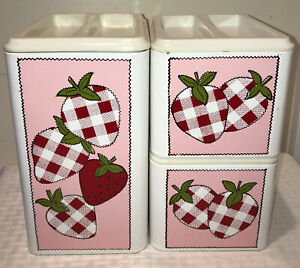 Vintage Canister Set Metal Pink/Red Checkered Strawberry Design