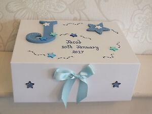 Beautiful Medium Boys Personalised Memory Box/ Baby Birth/Gift /Christening