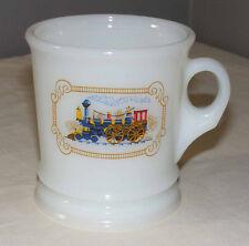 Vintage Avon Milk Glass Mug Cup with Antique Locomotive Train Design S4C4