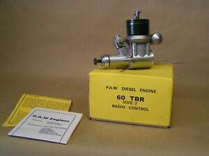 """NEW"" P.A.W. 60 TBR Mark 2 Diesel, twin ball race, vari jet carb, muffler etc;"