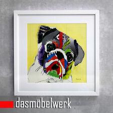 Mops Bild Holz Rahmen weiß by Michel Keck Collage Fotodruck Hund Dog Portrait