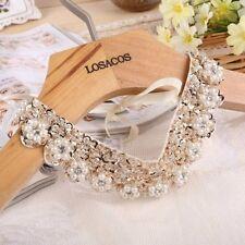 Fashion Gold Sequin Detachable False Collar Female Necklace Pearl Flower Choker