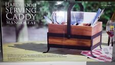 Mango Leaf Flatware Caddy Oak Wood Kitchen Silverware Storage Party Entertaining