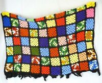 "Vintage Hand-Crochet Granny Square Throw Blanket Afghan 45x60"" Black Wool Blend"