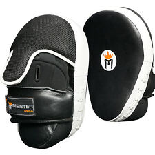 Leather Focus Mitts w/ Wrist Support (Pair) - Curved Meister Mma Boxing Pads New
