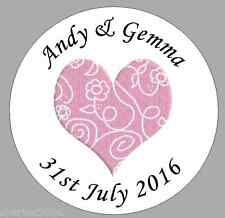 24 x 40mm Personalised Stickers Round Pink Scroll Heart Wedding Favour Labels
