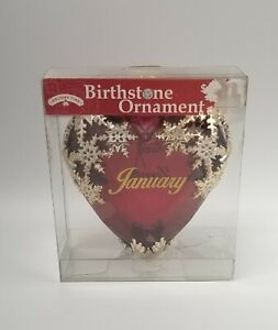 Beautiful Victorian Style Birthday Heart Ornament JANUARY Birthstone Color Red