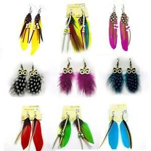 Women Jewelry Handmade Earrings Ear Drop Goose Feather Long Drop UK SELLER