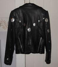 Genuine GYPSY LEATHER Women's Motorcycle Biker Jacket, Silver Conchos USA 6 8