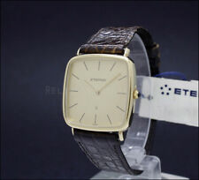New Old Stock 29mm ETERNA dress gold filled crocodile vintage quartz watch NOS
