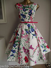 MONSOON MEADOW FLORAL 50'S ROCKABILLY VINTAGE PROM FIT 'N' FLARE PARTY DRESS 16