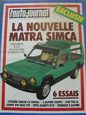 L'AUTO JOURNAL 1976 21 FIAT 128 CL MATRA RANCHO TOUR DE CORSE R5 ALPINE COUPE
