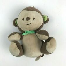 Fisher Price MY LITTLE SNUGAMONKEY Brown Cream MONKEY Plush Baby TOY Green BOW