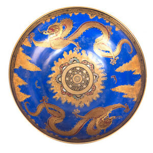"""Large 1920s CARLTON WARE England Gold Chinoiserie Dragon Handpainted Bowl 10"""""""