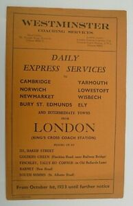 WESTMINSTER COACHES OCTOBER 1933 ~ EXPRESS COACH SERVICES LONDON TO EAST ANGLIA