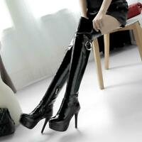 Women's High Heel Zip Platform Over Knee Boots Shoes High Stiletto Heels Pumps