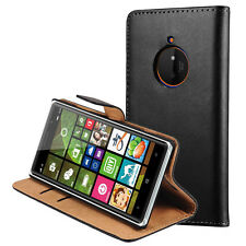 Genuine Leather Case For Nokia Lumia 830 Magnetic Flip Card Wallet Stand Cover