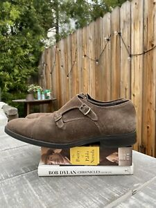 Brown Suede Double Monk Straps Sz 45 Handmade in Hungary Manner of Vass Budapest