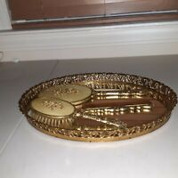 VINTAGE 1950'S 24kt GOLD ORMALU 4 PC DRESSER SET-MIRRORED TRAY,BRUSH,MIRROR&COMB