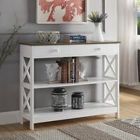 Contemporary 1 Drawer Console Table 3-Tier Wooden Display Storage Shelf White