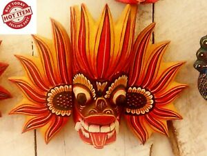 "CEYLON MASK 4.5""HAND CARVED WOOD WALL HOME DECOR SCULPTURE COLLECTION FIRE DEVIL"