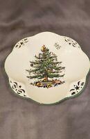 "Spode Christmas Tree Pierced Serving Plate Cut-outs 10 1/2"" England  EUC"