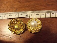 2 x reclaimed jacket button faux pearl gold round 22mm shank back
