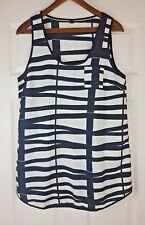 VERO MODA Ladies Black/White Striped Sleeveless Tank Top Vest Blouse Size L