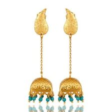 22k Gold Plated Sterling Silver Turquoise Gemstone Jewelry Dangle Earrings