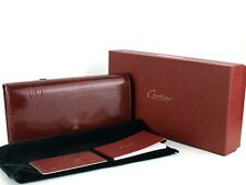 Auth CARTIER Happy Birthday Wallet Red Wine Patent Leather Long Bifold Purse