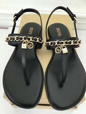 NIB Michael Kors Women's Black Elsa Leather Sandal Thong Select Size 8 Or 9 NEW