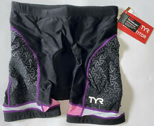 """New listing TYR Women's Large Black Purple Pink 6"""" Tri Exercise Bike Shorts COMPETITOR New"""