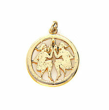 Vintage UK Hallmarked 9ct 9k Yellow Gold Gemini/Twins Zodiac Charm Pendant 1969