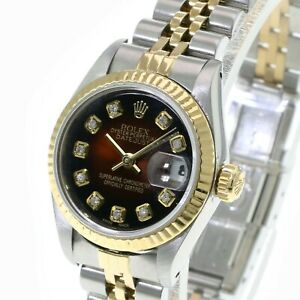Rolex Lady Datejust Gold and Steel Brown Diamond Fluted Bezel  26mm-Quickset