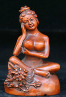 Chinese Wood Boxwood Hand-carved Seat Beauty Women Girl Nobe Lotus Flower Statue