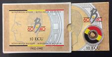 10 Ecu Or et Argent Belgique 1990 - Etui d'origine sous capsule - G475