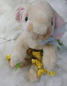 "Animal Alley Cream Color 14"" Bunny with Blue Bow Stuffed Plush"