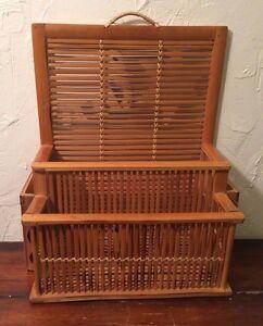 "Vintage Bamboo Letter Mail Bill Holder Storage Wall Organizer 14"" x 11"" x 6.5"""