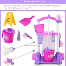 Kids Pretend Play Toy Cleaning Trolley Set Broom Mop Bucket Tools Duster Funny